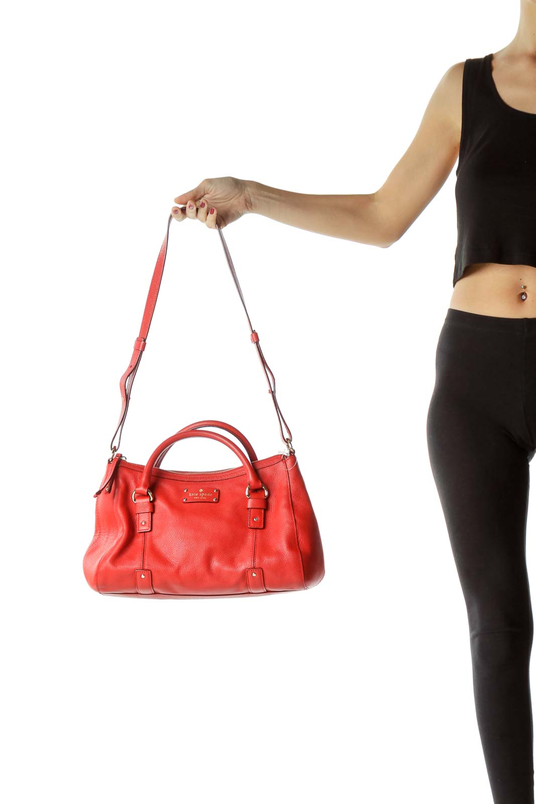 Red Leather Satchel with Straps