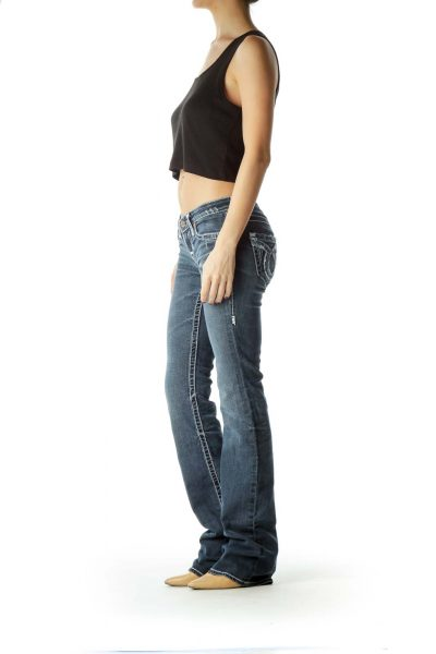 Blue Medium-Wash Stitched Flared Jeans