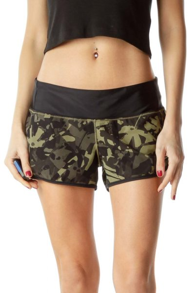 Black Green Camouflage Sport Short Shorts