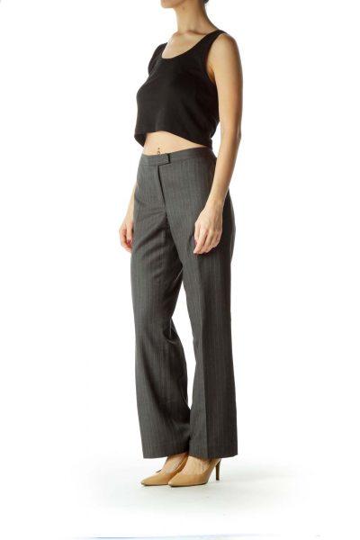 Gray Pocketed Straight Leg pants