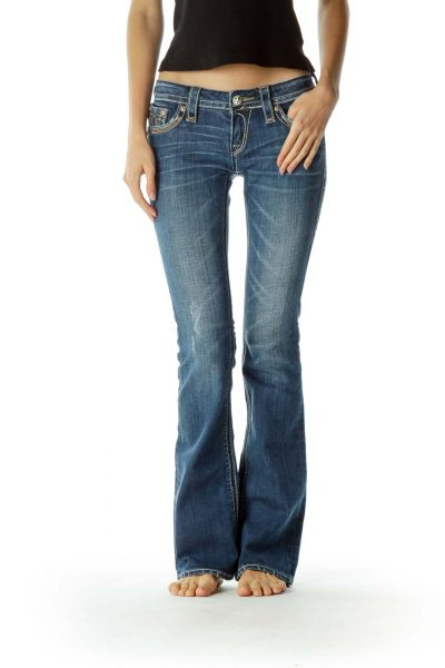 Blue Stitched Flared Denim Jeans