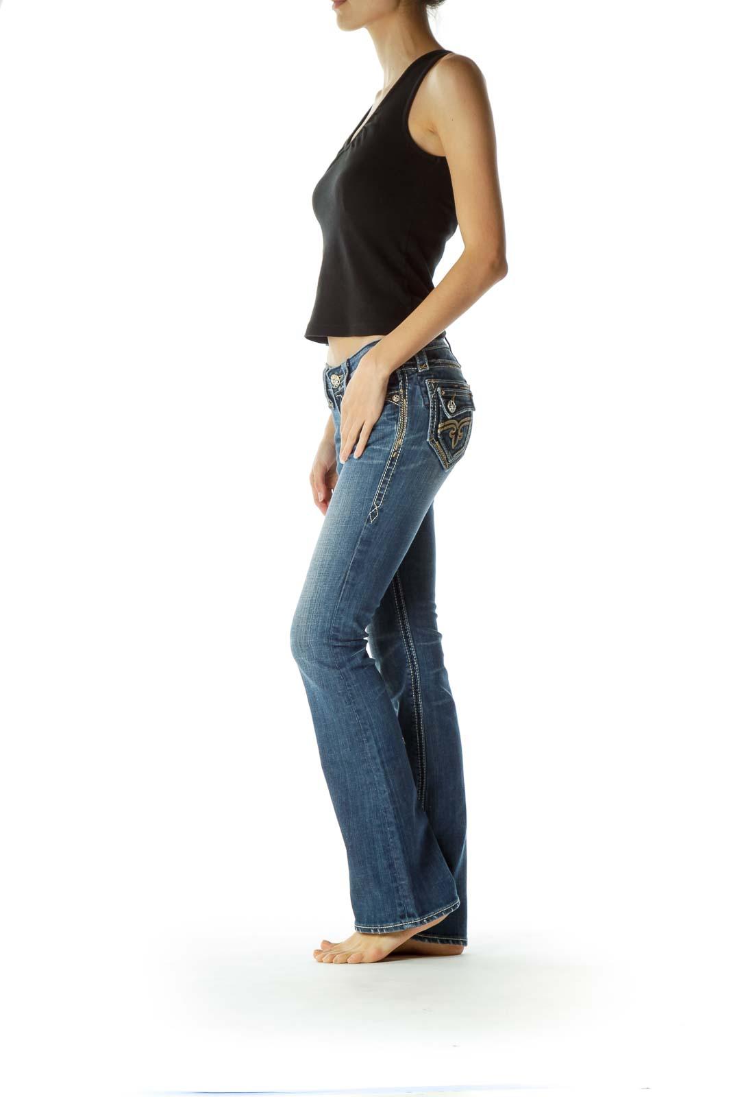 Blue Stitched Flared Denim Jeans