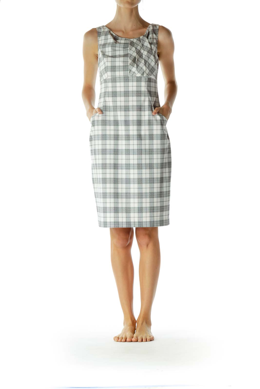 Black and Cream Plaid Work Dress