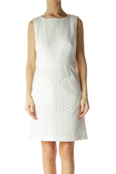 White Slightly Metallic Knit Dress with Pockets