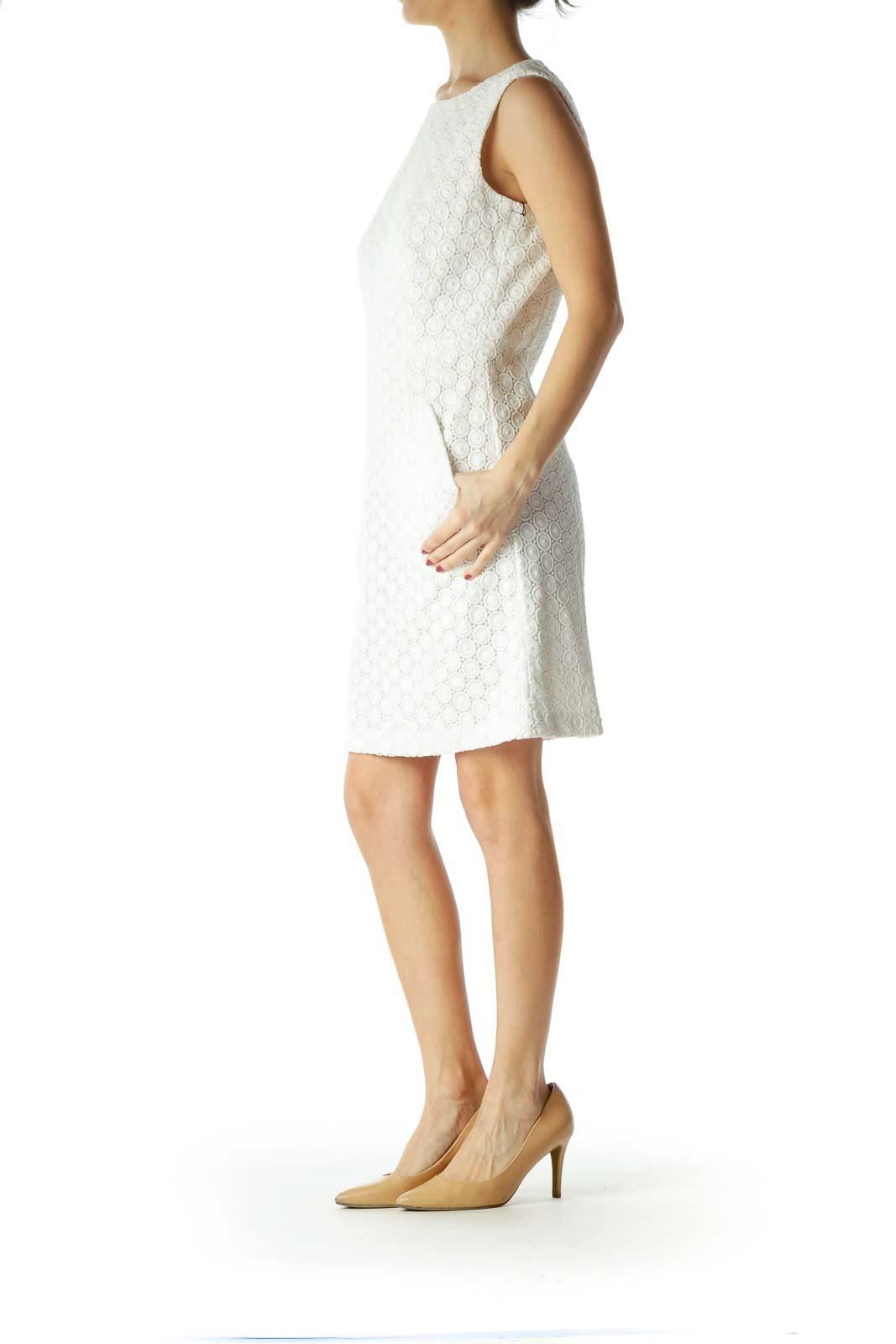 White Slightly Metallic Knit Dress with Pockets