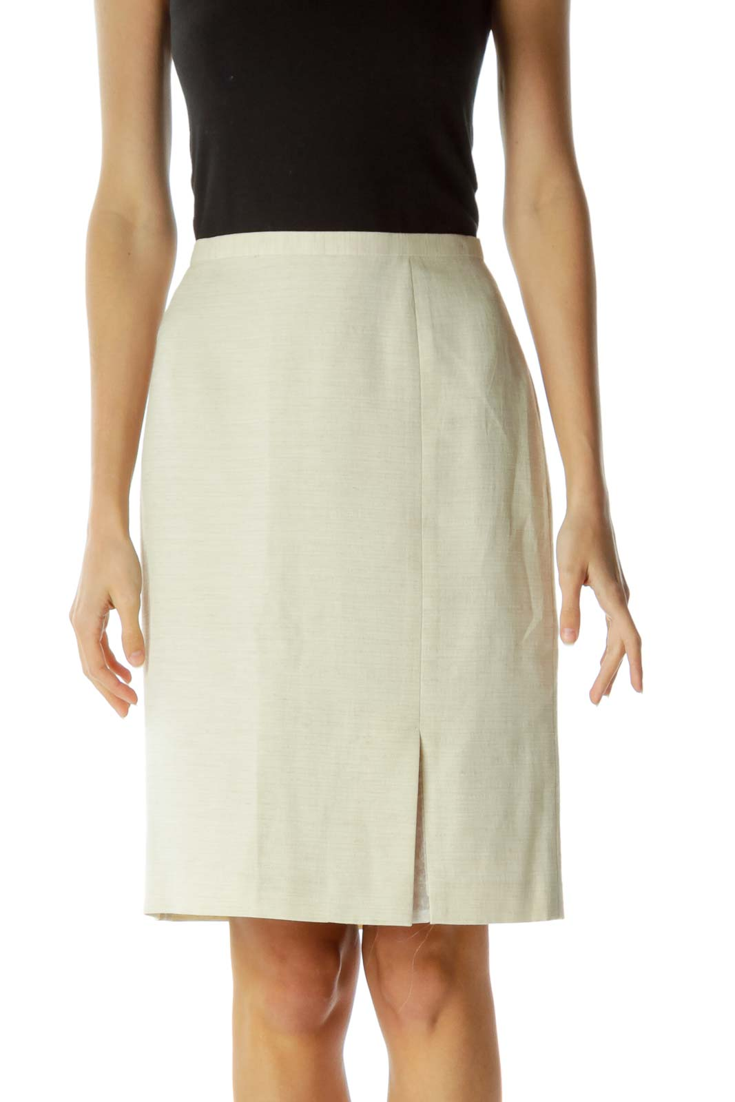 Cream A-Line Skirt with Sheer Slit