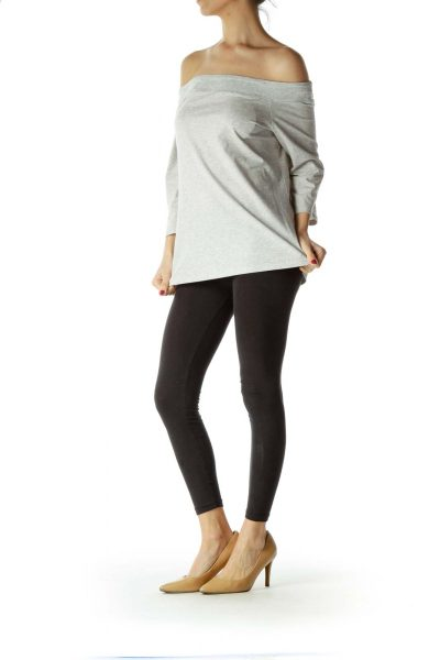 Gray Off-Shoulder Top