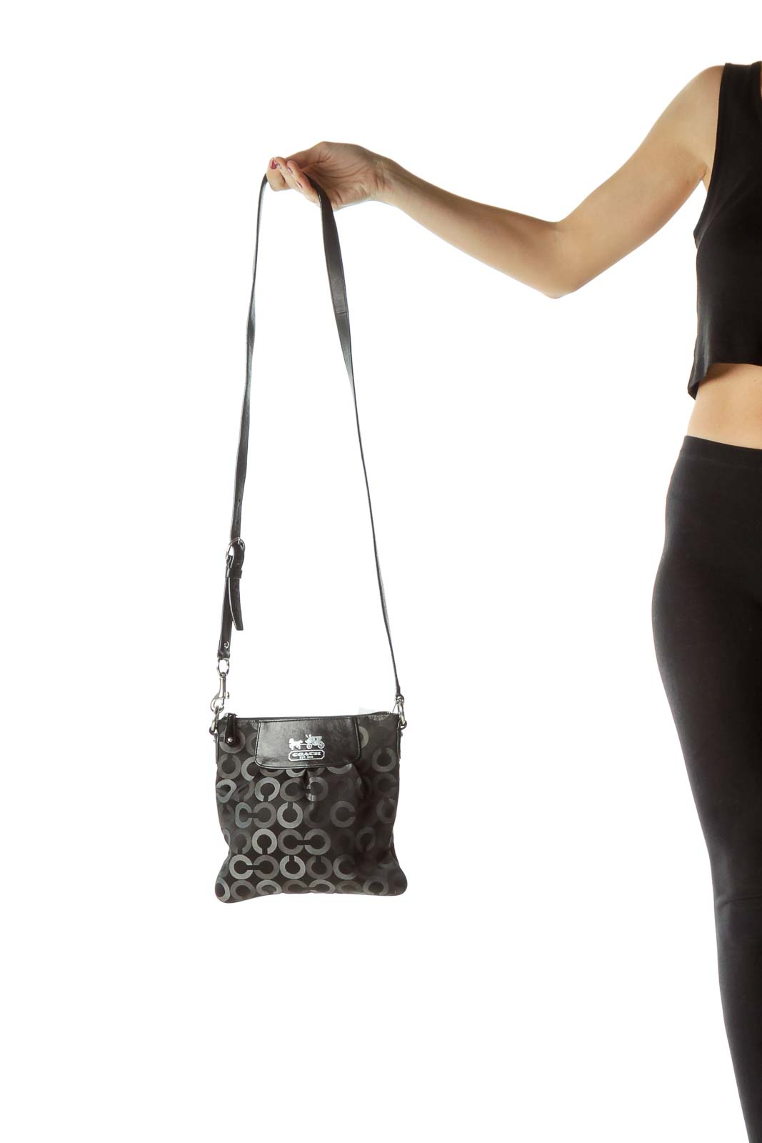 Black Circle Print Crossbody Bag