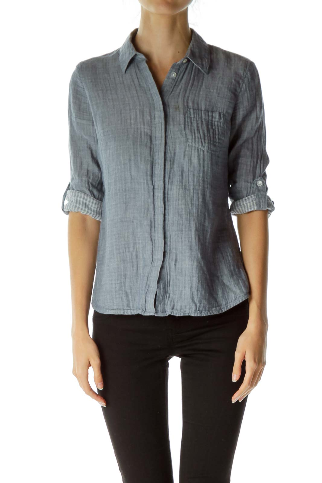 Blue 3/4 Shirt Cotton Shirt