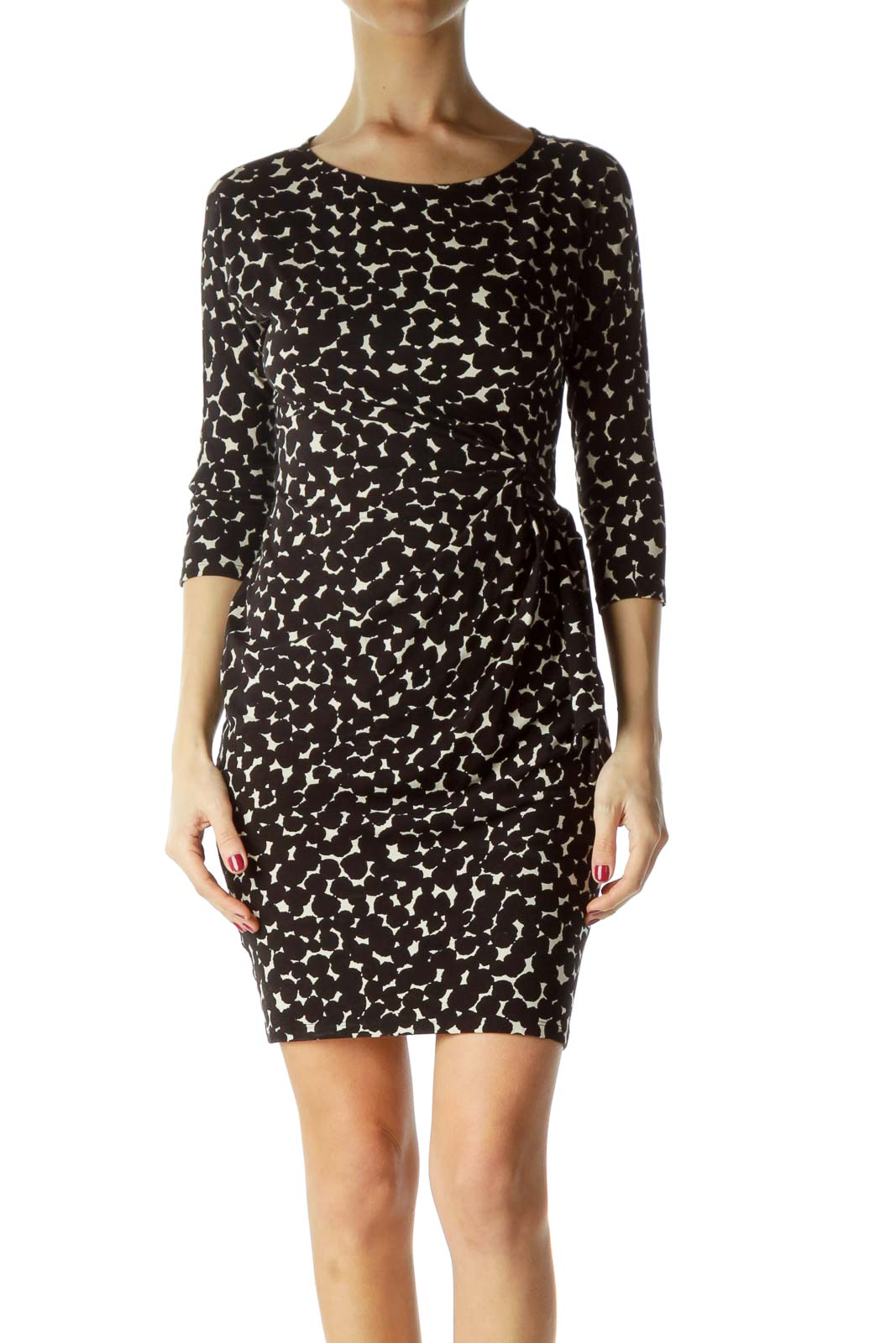 Print Ruched 3/4 Sleeve Dress