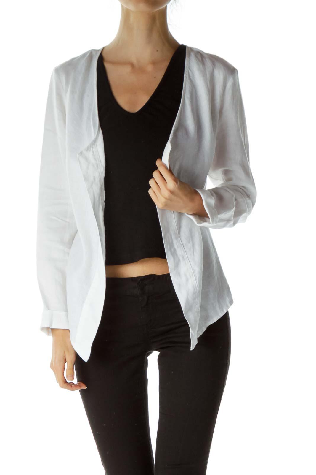 White Open Linen Jacket