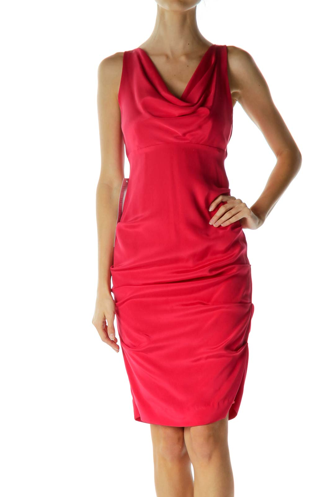 0ed484ab646 Shop Pink Empire Waist Ruched Silk Dress clothing and handbags at SilkRoll.  Trade with us!