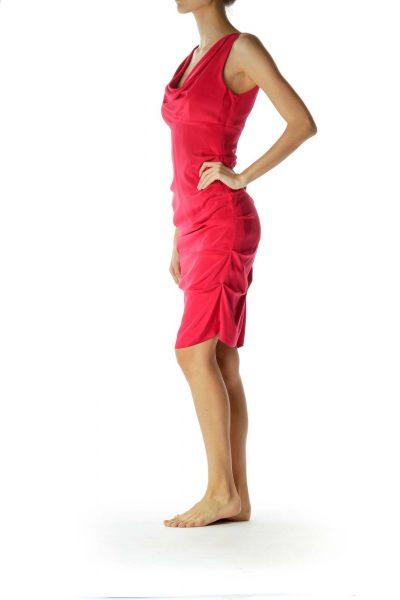 Pink Empire Waist Ruched Silk Dress