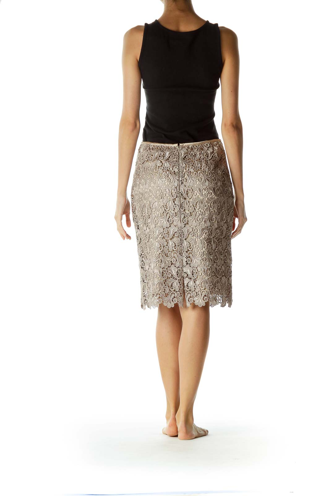 Gold Lace Scalloped Pencil Skirt
