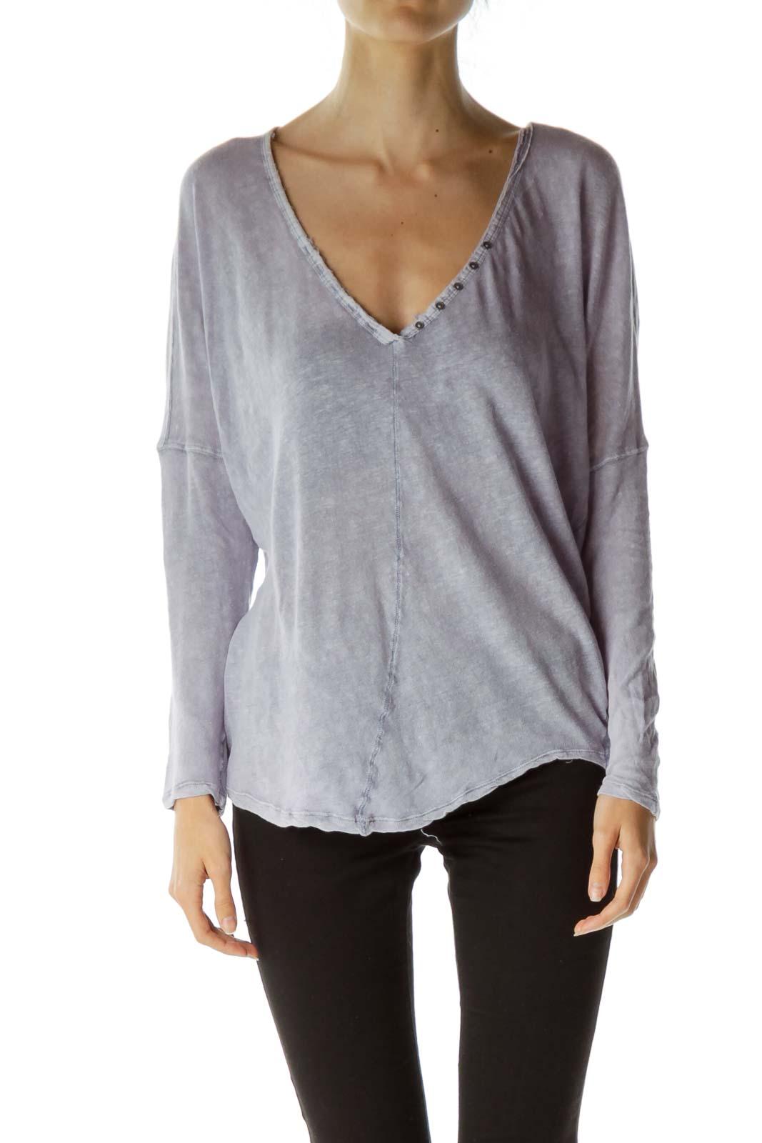 Purple Linen Raglan Sleeve Top