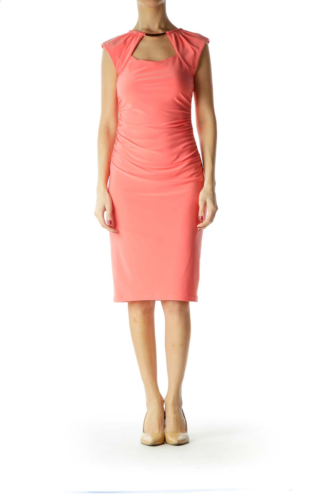 Pink Ruched Sleeveless Dress