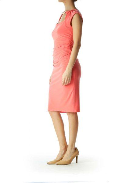 Pink Ruched Sleeveless Dress