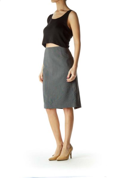 Black White Cinched Waist Pencil Skirt