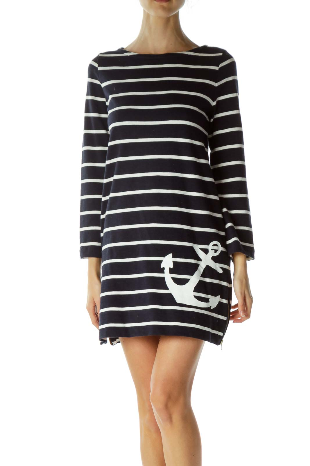 Navy Striped Knit Dress with Anchor