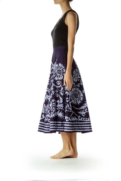 Blue White Printed 100% Cotton Flared Skirt