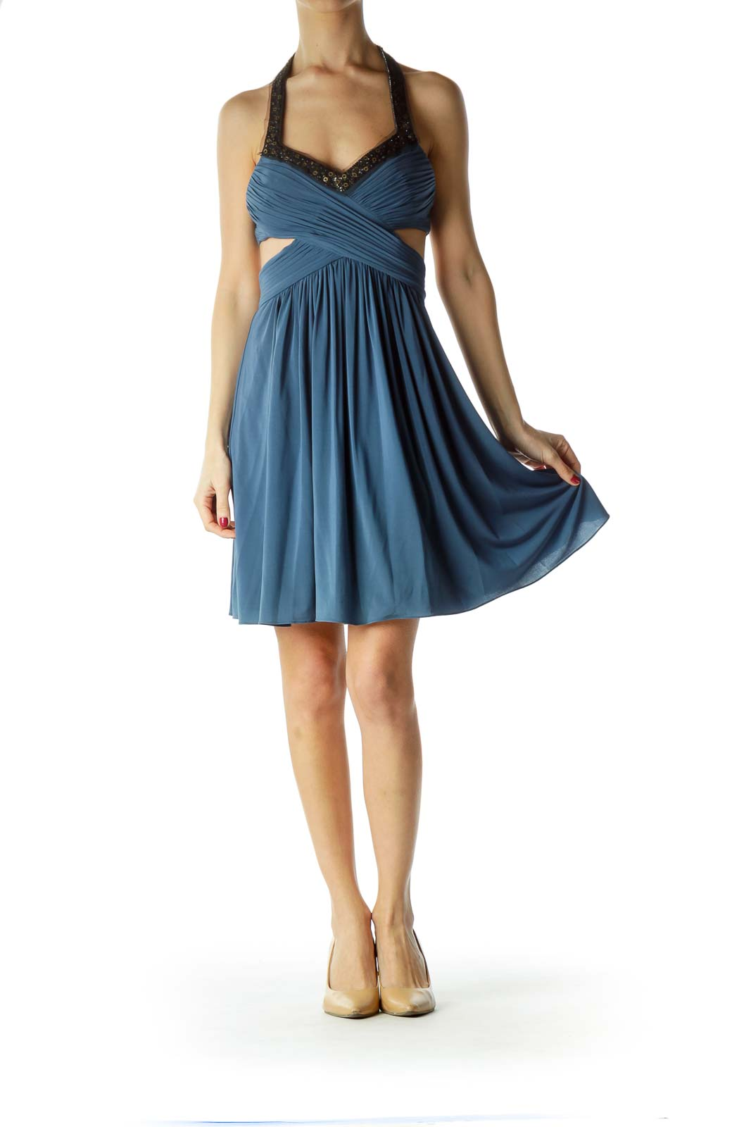 Blue Scrunched Cut-Out Halter Cocktail Dress