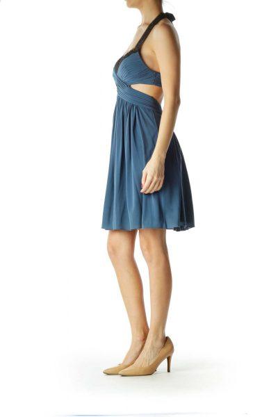 Blue Scrunched Cut-Out Halter Cocktail Dress