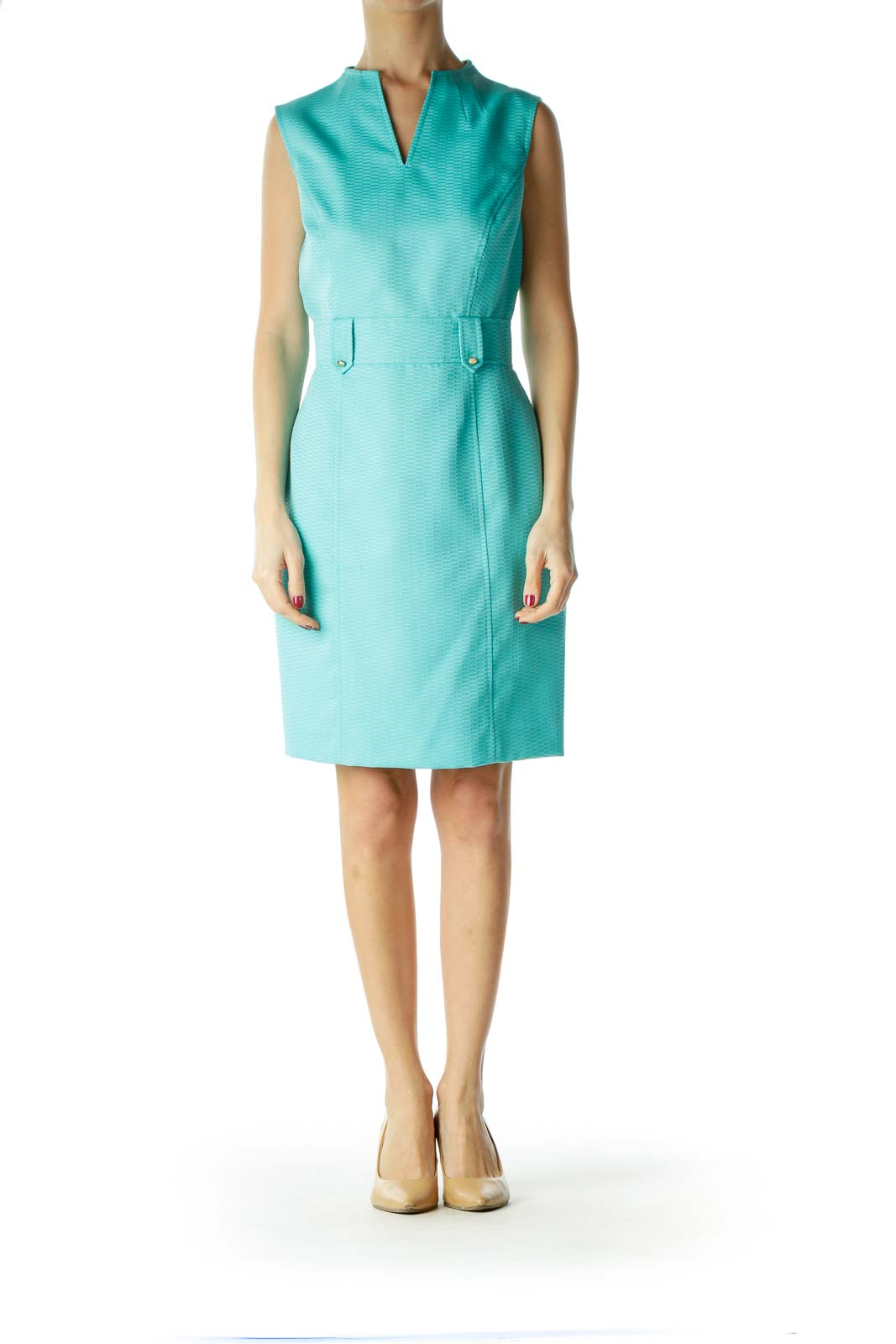 Blue V-Neck Belted Work Dress