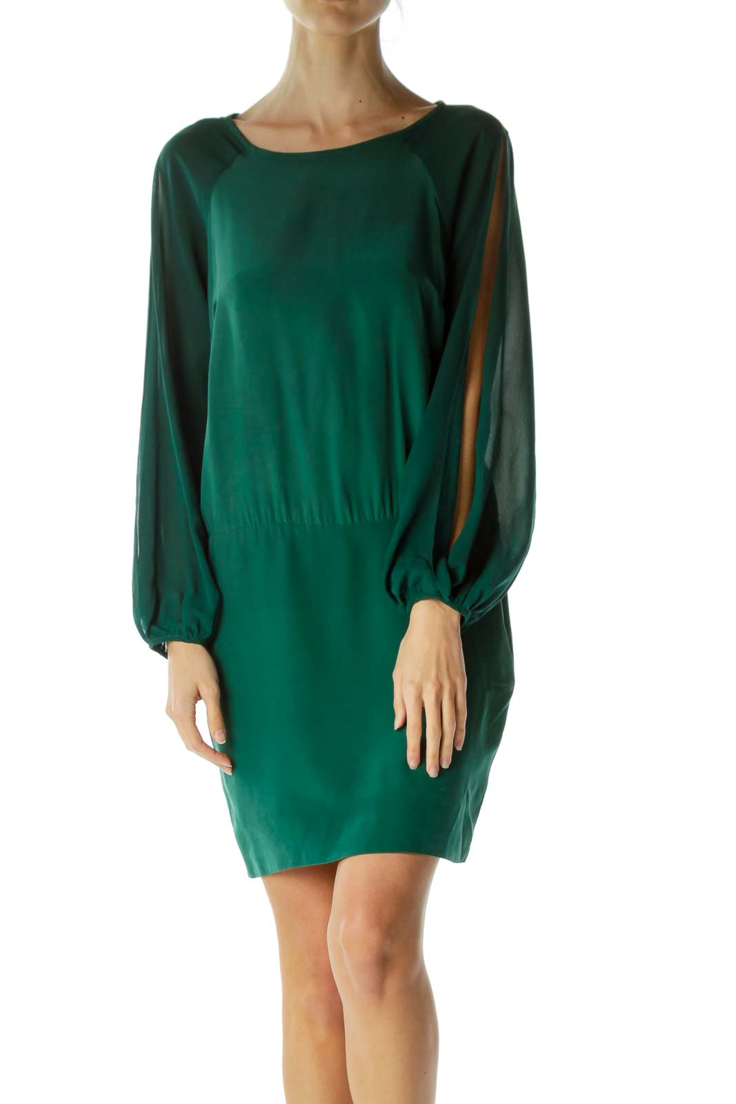 Green Long Sleeve Cut-Out Cocktail Dress