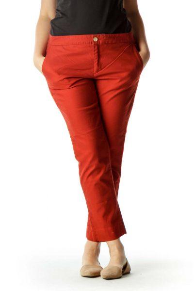 Orange Straight Leg Pants