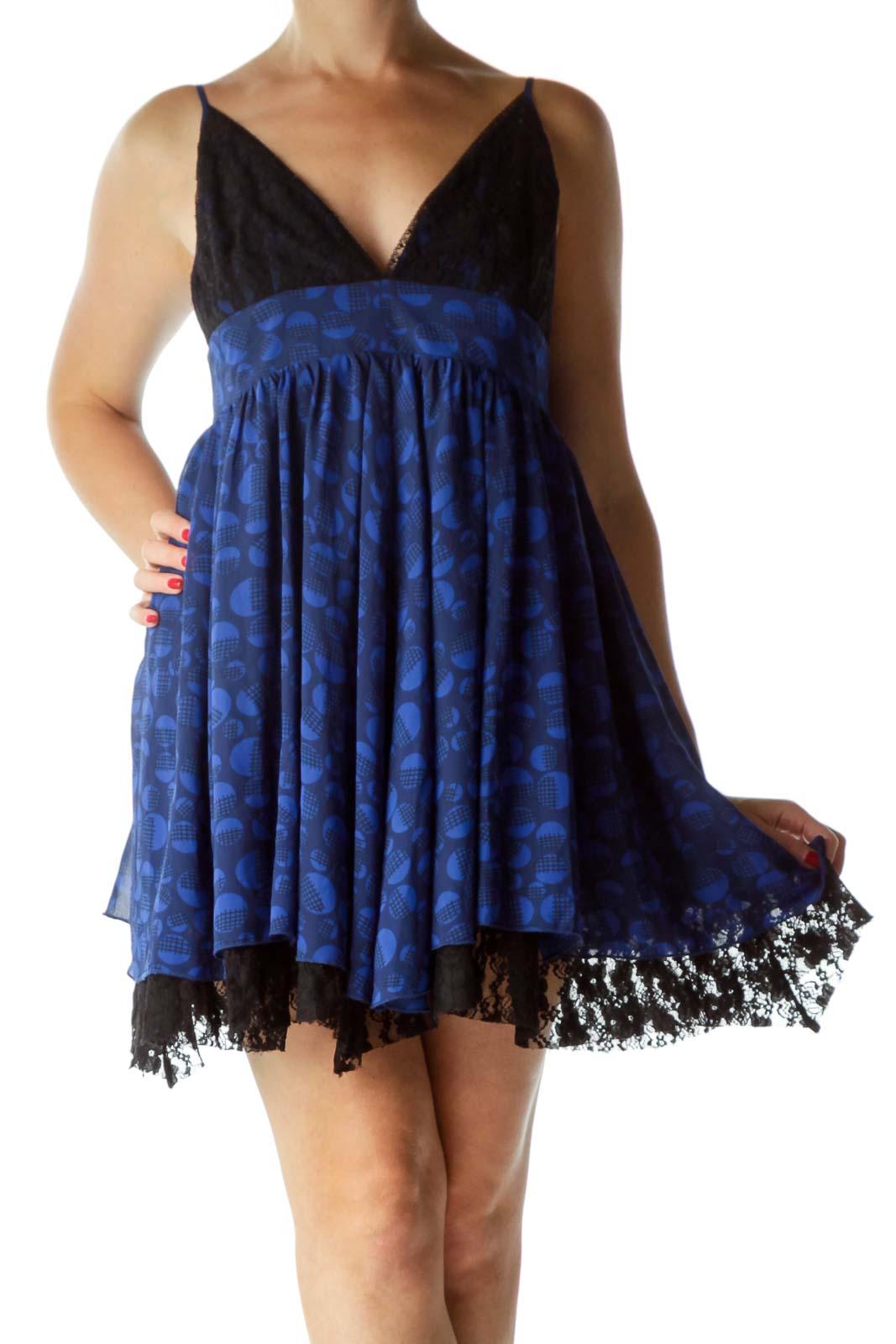 Blue Black Laced Printed Spaghetti Strap Dress