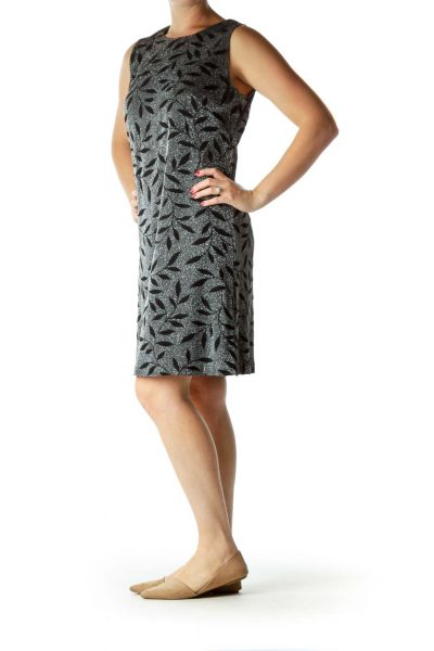 Black Metallic Printed Evening Dress