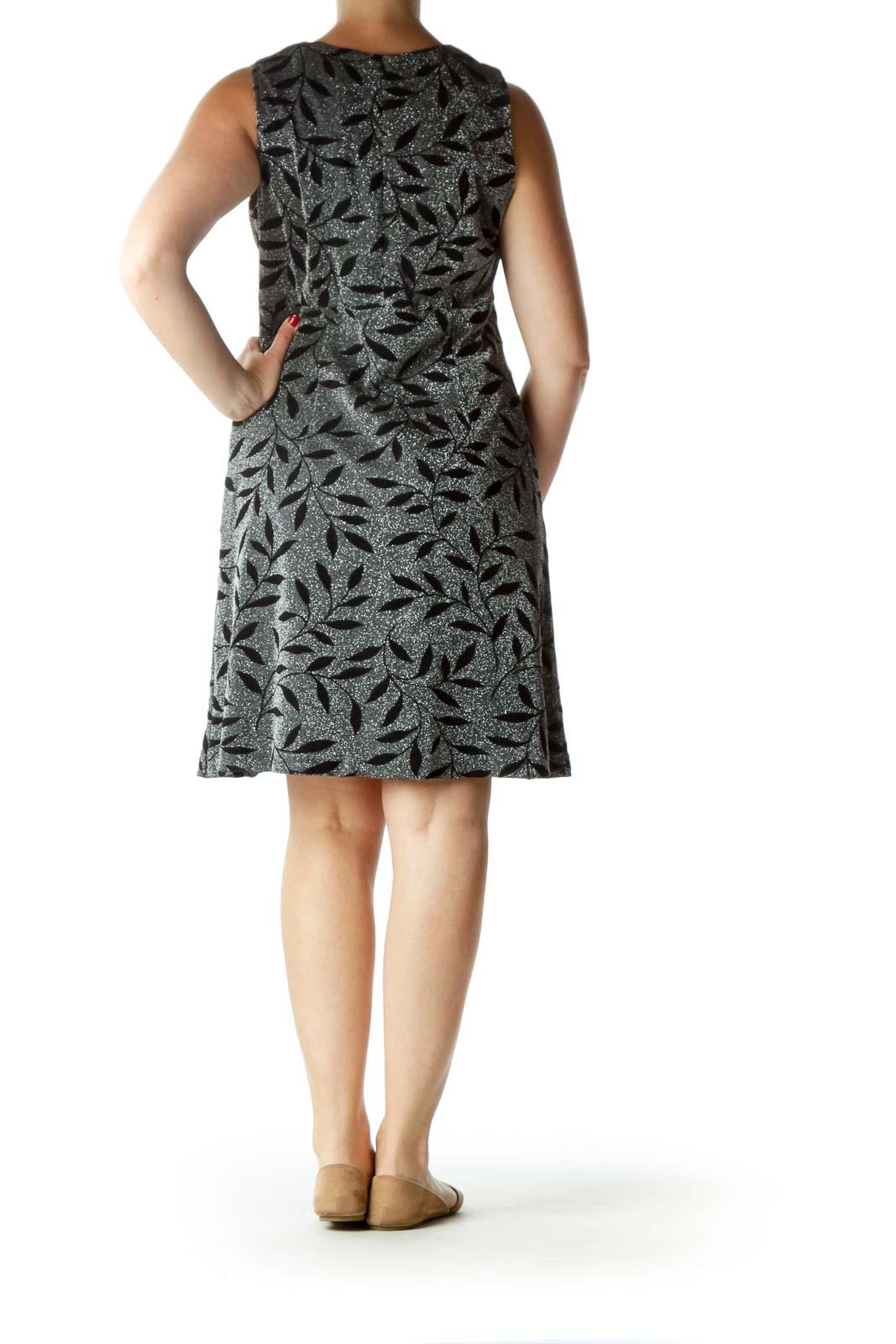 Black Metallic Printed Evening Dress