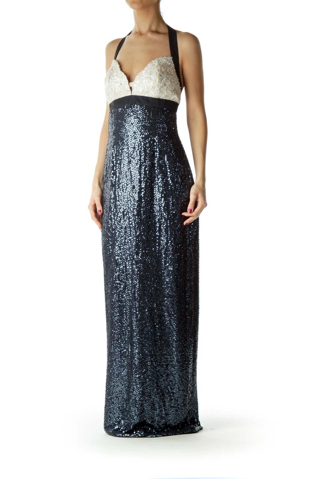 Navy Silk Beaded Evening Dress – NWT