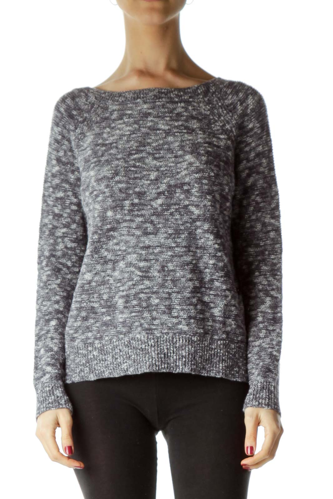 Gray Round Neck Mottled Sweater