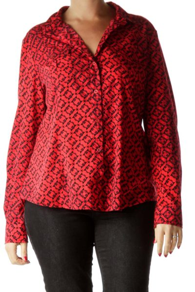 Black and Red Printed Long Sleeve Shirt