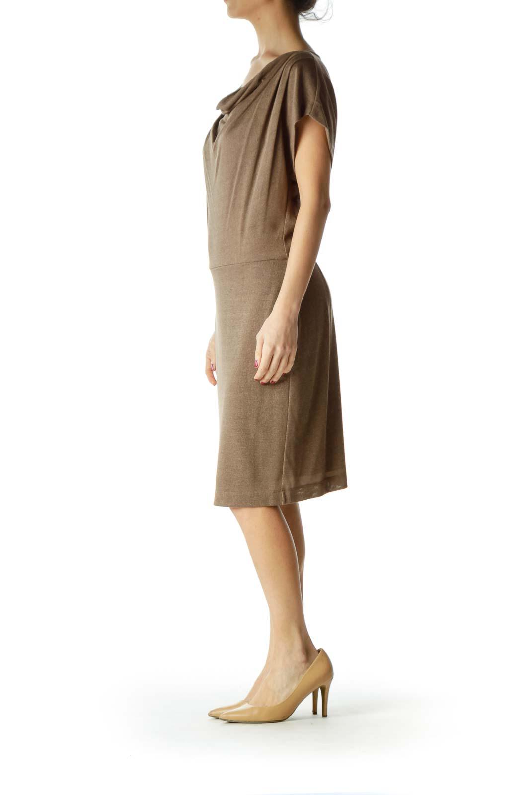 Beige Sheer Slim Short Sleeve Knit Dress