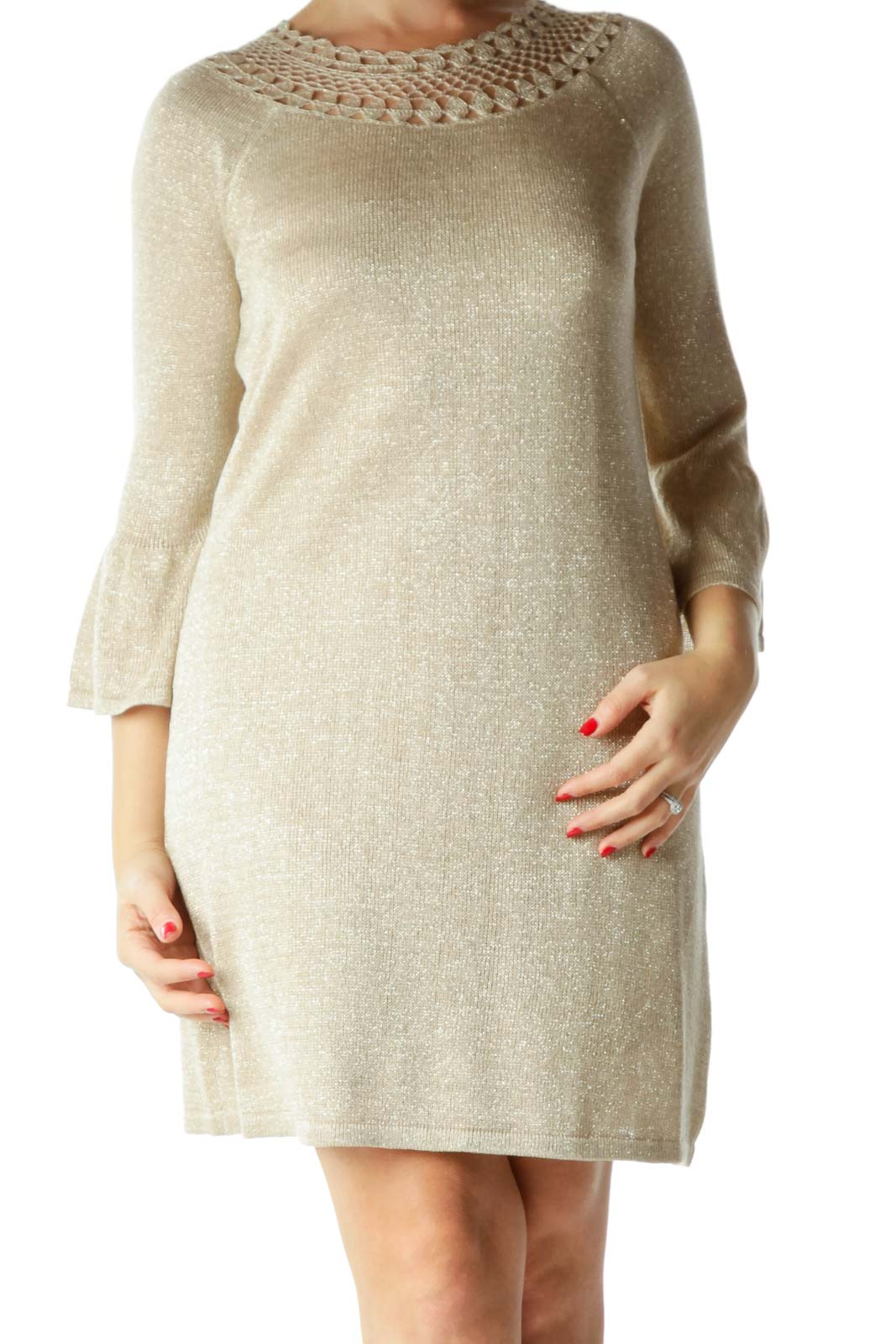 Beige Metallic Bell-Sleeves Knit Dress