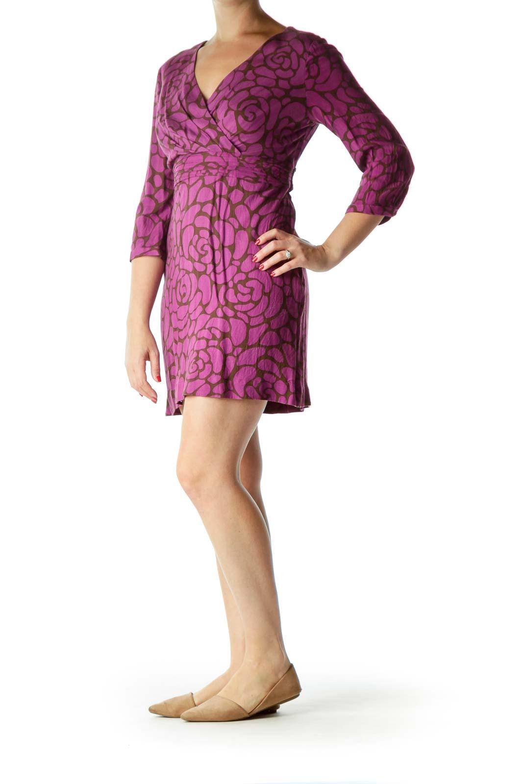 Purple Brown Floral Print V-Neck Day Dress