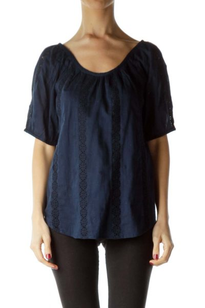 Navy Eyelet Round Neck Blouse