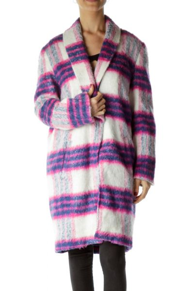 Pink Blue White Plaid Oversize Coat