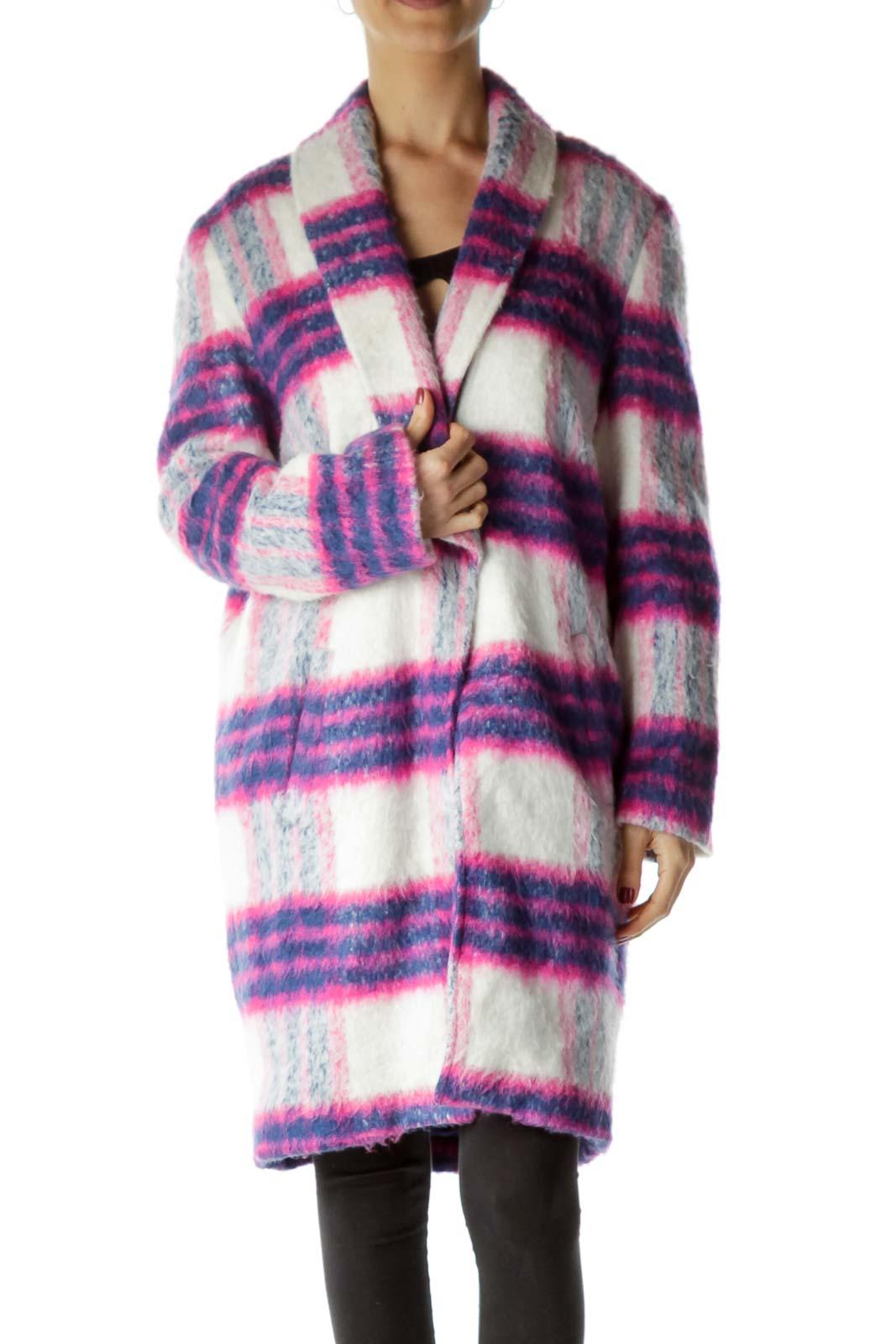 Pink Blue White Plaid Oversize Coat