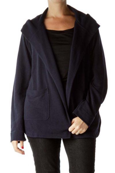 Navy Hooded Open Front Sweatshirt