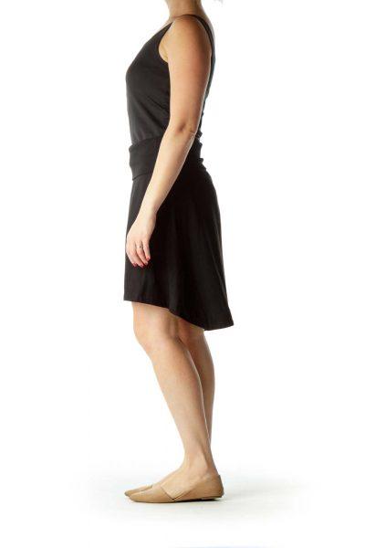 Black Pocketed Flared Skirt