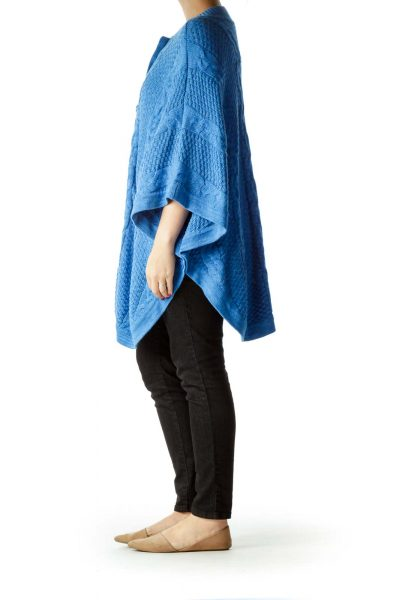 Blue Bat-Sleeve Cable Knit Sweater