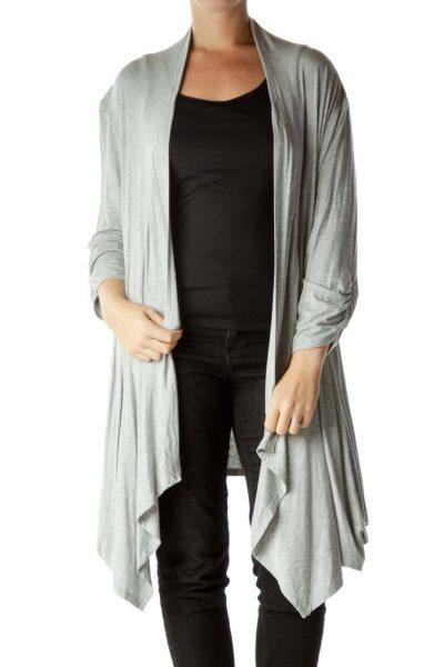 Gray 3/4 Sleeve Waterfall Cardigan