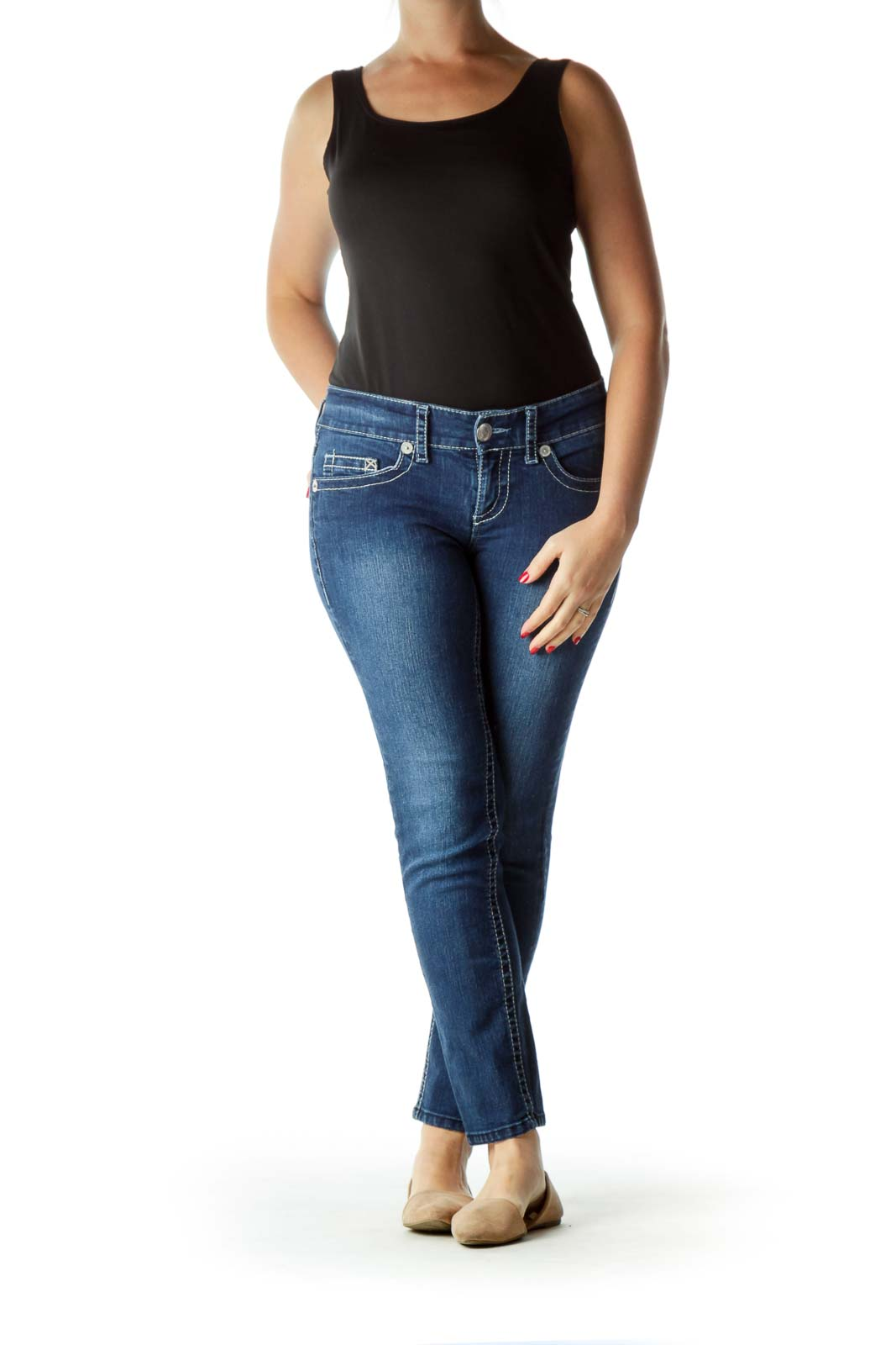 Blue White Stitched Skinny Jeans