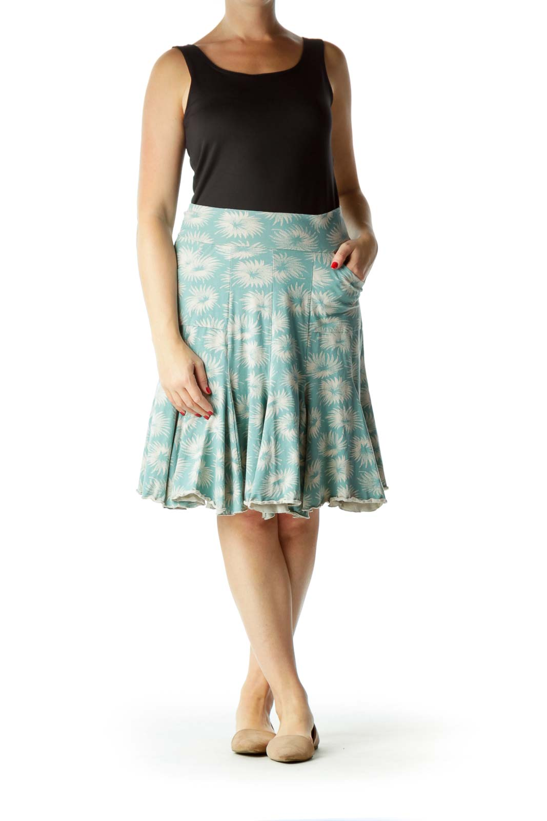 Blue Beige Printed A-Line Stretchy Skirt