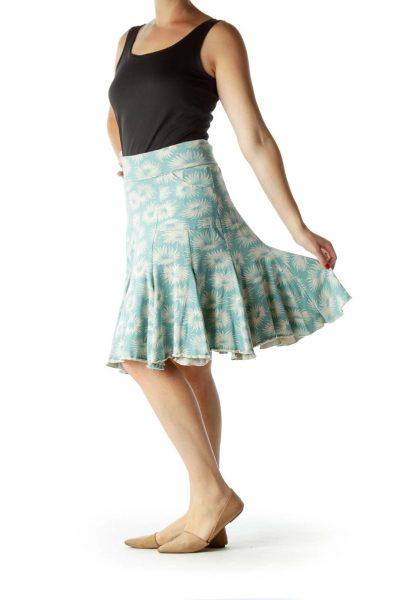 Blue Beige Printed A-Line Stretchy Skirt