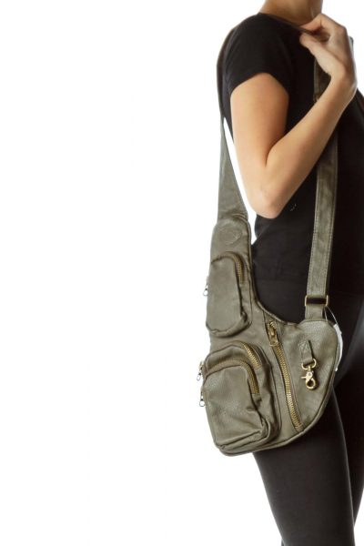 Gray Zippered Crossbody Bag