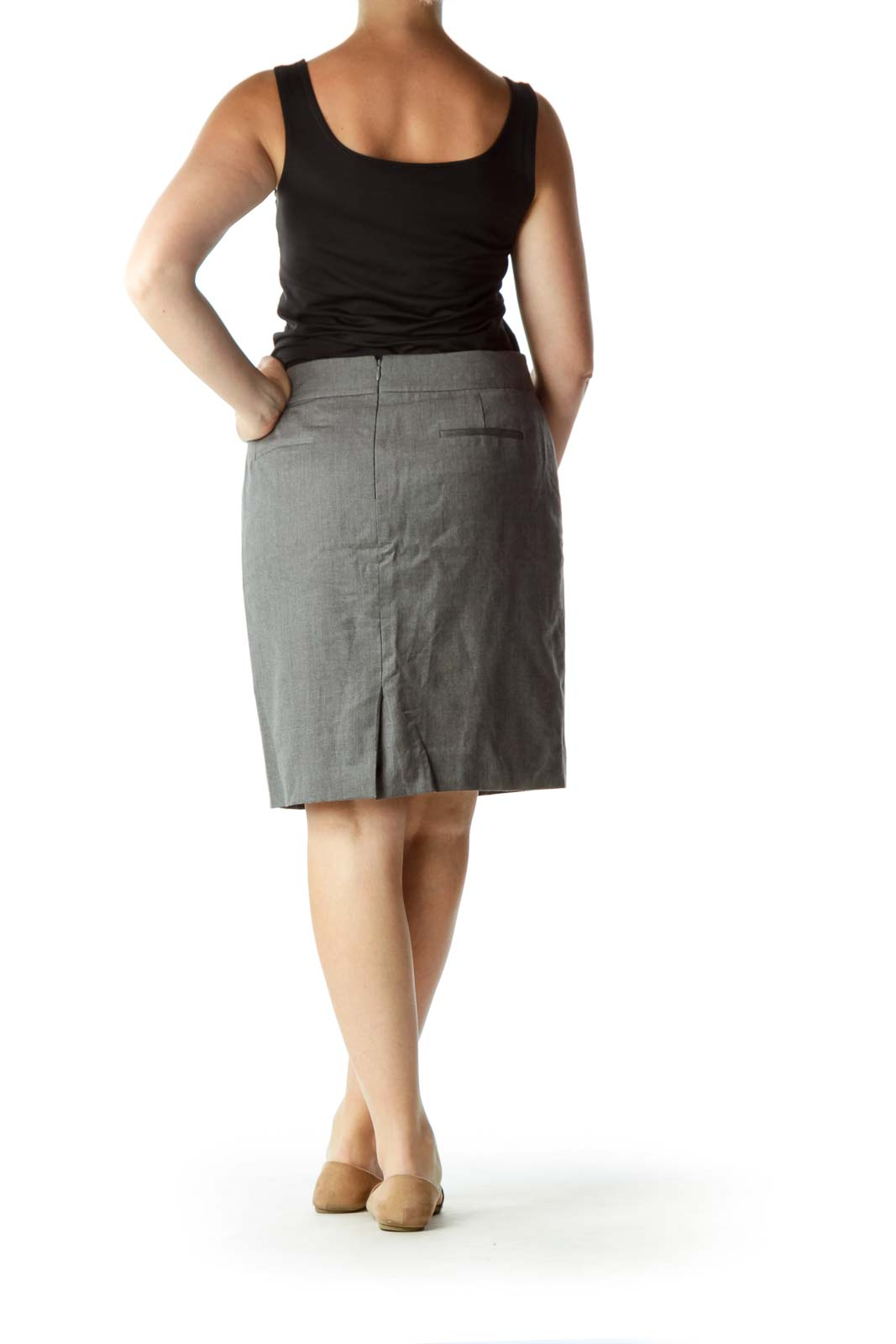 Gray A-Line Skirt with Small Back Slit